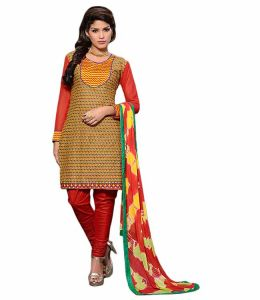Sinina Multi Color Un Stitched Cotton Embroidered Dress Material (code - 25lwb290)