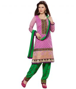 Pick Pocket,Gili,Valentine,Sinina,Jpearls Women's Clothing - Sinina pink color Patiala Un stitched chanderi cotton embroidered dress material (Code - PHV6005)