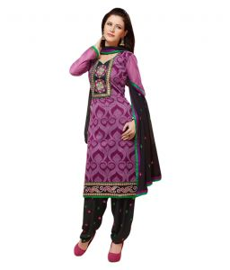 Kiara,Port,Surat Tex,Estoss,Valentine,Sinina,Flora,Sukkhi Women's Clothing - Sinina purple color Patiala Un stitched chanderi cotton embroidered dress material (Code - PHV6009)