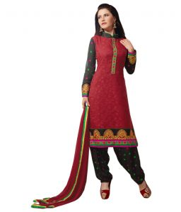 Sinina Red Color Patiala Un Stitched Chanderi Cotton Embroidered Dress Material (code - Phv6015)