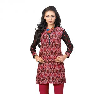 Sinina Pink Colour Short Embroidered Kurti- Alice04