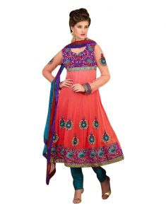 Sinina Womens Georgette Embroidered Semi Stiched Anarkali Salwar Kameez Divine1003