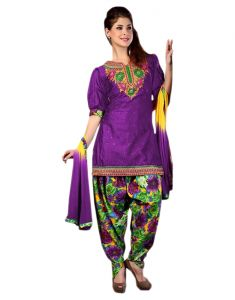 Sinina Purple Color Patiala Un Stitched Cotton Embroidered Dress Material (code - Elegance1005)