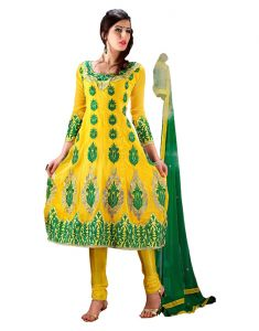 Sinina Women's Clothing - Sinina Yellow Georgette Salwar Kameez Suit Semi Stitched Anarkali Dress Material-Elegant456