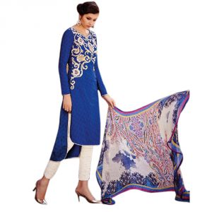 Sinina Blue Color Unstitched Cotton Embroidered Dress Material (code - Fcmonarch9088)