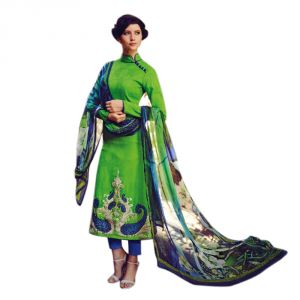 Sinina Green Color Unstitched Cotton Embroidered Dress Material (code - Fcmonarch9090)