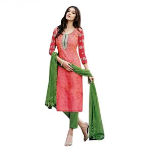 Sinina Jacquard Cotton Orange Color Silk Dress Material-redfcsenti9109