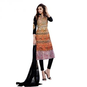 Sinina Multi Color Unstitched Cotton Embroidered Dress Material (code - Fcsenti9111)