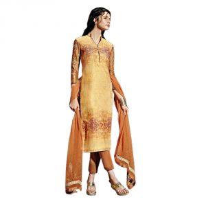 Sinina Golden Color Unstitched Cotton Embroidered Dress Material (code - Fcsenti9117)