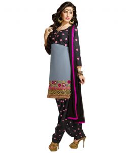 Sinina Designer Embroidered Chanderi Cotton Unstitched Patiala Dress Material - K12phv7306