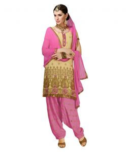 Kiara,Port,Surat Tex,La Intimo,Asmi,Ag,Clovia,Hoop,Sinina,Cloe Women's Clothing - Sinina pink color Patiala Un stitched chanderi cotton embroidered dress material (Code - PHV7310)