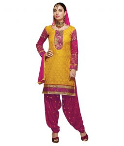 Asmi,Platinum,Ivy,Unimod,Clovia,Estoss,Sinina,Surat Tex Women's Clothing - Sinina yellow color Patiala Un stitched chanderi cotton embroidered dress material (Code - PHV7803)