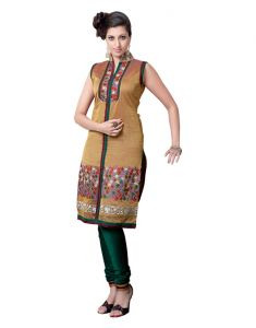 Sinina Chanderi Silk Brown Color Dress Material- Redk34
