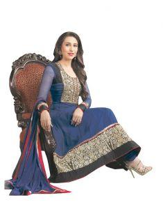 Sinina Women's Clothing - Sinina Blue Georgette Salwar Kameez Suit Semi Stitched Anarkali Dress Material-KM788