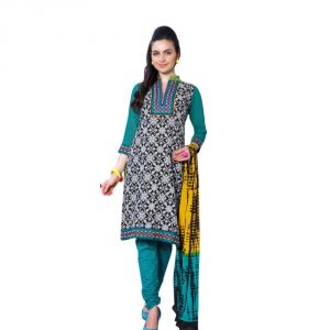 "Sinina Women""s Cotton Embroidered Straight Salwar Kameez Un Stitched Dress Material ? Lwb308"