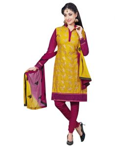 Sinina Yellow Color Un Stitched Cotton Embroidered Dress Material (code - Lwsw49)