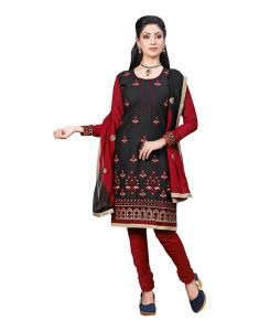 Vipul,Port,Tng,Sangini,Jpearls,Sinina,Kiara,Azzra Women's Clothing - Sinina black color Un stitched cotton embroidered dress material (Code - LWSW50)