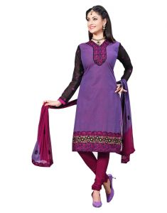 Sinina Purple Color Un Stitched Cotton Embroidered Dress Material (code - Lwsw54)