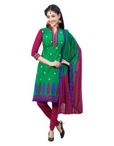 Sinina Green Color Un Stitched Cotton Embroidered Dress Material (code - Lwsw58)