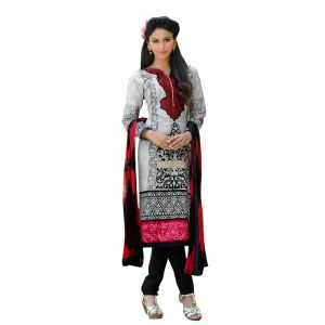 "Sinina Women""s Cotton Embroidered Straight Salwar Kameez Un Stitched Dress Material ? Mist02"