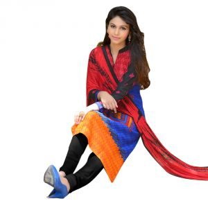 "Sinina Women""s Cotton Embroidered Straight Salwar Kameez Un Stitched Dress Material ? Mist05"