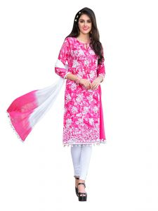 Sinina Pink Color Un Stitched Cotton Embroidered Dress Material (code - Pristine01)