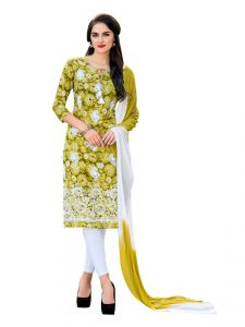 Sinina Green Yellow Color Un Stitched Cotton Embroidered Dress Material (code - Pristine02)