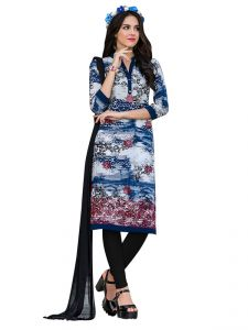 Sinina Multi Color Un Stitched Cotton Embroidered Dress Material (code - Pristine04)