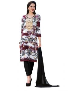 Sinina Brown Color Un Stitched Cotton Embroidered Dress Material (code - Pristine06)