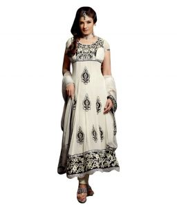Sinina White Georgette Salwar Kameez Suit Semi Stitched Anarkali Dress Material-ravishing5005