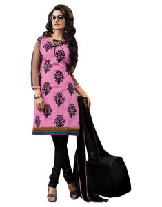 Sinina Pink Color Unstitched Cotton Embroidered Dress Material (code - Rh18pk01)