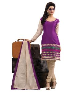 Sinina Purple Color Unstitched Cotton Embroidered Dress Material (code - Rh18pk06)