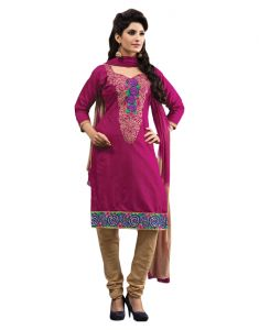 Sinina Medium Violet Red Color Unstitched Cotton Embroidered Dress Material (code - Rh18pk09)
