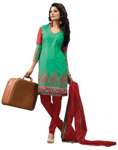 Sinina Green Color Unstitched Cotton Embroidered Dress Material (code - Rh18pk10)