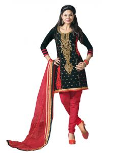 Sinina Black Color Unstitched Cotton Embroidered Dress Material (code - Rh20pk06)