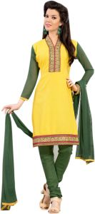 Rcpc,Jpearls,Surat Diamonds,Gili,Sinina Women's Clothing - Sinina yellow color Unstitched cotton embroidered dress material (Code - RH21PK01)