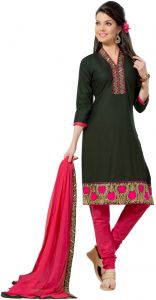 Sinina Black Color Unstitched Cotton Embroidered Dress Material (code - Rh21pk04)