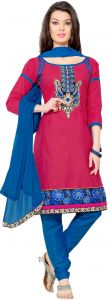 Sinina Pink Color Unstitched Cotton Embroidered Dress Material (code - Rh21pk09)