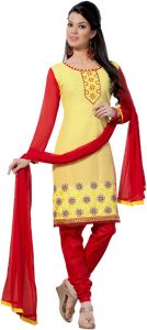 Sinina Yellow Color Unstitched Cotton Embroidered Dress Material (code - Rh21pk11)