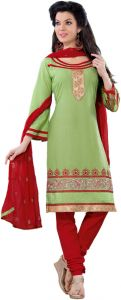 Sinina Green Color Unstitched Cotton Embroidered Dress Material (code - Rh21pk13)