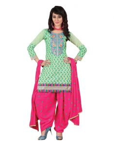 Jagdamba,Avsar,Hoop,Estoss,Sinina Women's Clothing - Sinina green color chikan work cotton salwar kameez  unstitched Dress material (Code - RH2CH12)