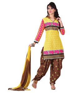 Sinina Yellow Color Chikan Work Cotton Salwar Kameez Unstitched Dress Material (code - Rh2ch1)