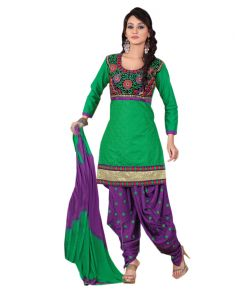 Kiara,Sukkhi,Ivy,Avsar,Sangini,Parineeta,Sinina Women's Clothing - Sinina green color chikan work cotton salwar kameez  unstitched Dress material (Code - RH2CH3)
