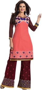 Sinina Coral Color Unstitched Cotton Embroidered Dress Material (code - Rhpz01)
