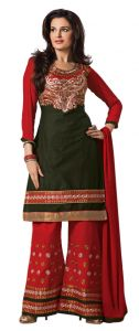 Sinina Dark Green Color Unstitched Cotton Embroidered Dress Material (code - Rhpz02)
