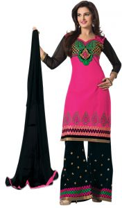 Sinina Pink Color Unstitched Cotton Embroidered Dress Material (code - Rhpz03)