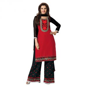 Sinina Red Color Unstitched Cotton Embroidered Dress Material (code - Rhpz10)