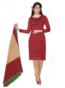 Sinina Red Color Un Stitched Cotton Printed Dress Material (code - Sgp1410)
