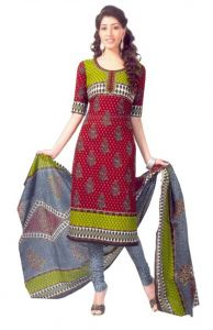 "Sinina Women""s Cotton Printed Straight Salwar Kameez Un Stitched Dress Material ? Sgp404"