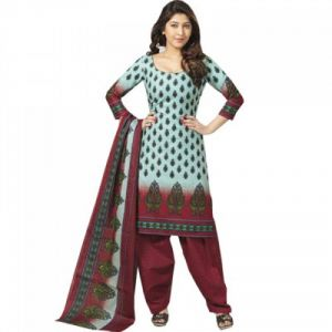"Sinina Women""s Cotton Printed Straight Salwar Kameez Un Stitched Dress Material ? Sgp415"
